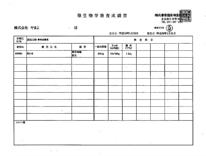 微生物学検査成績書